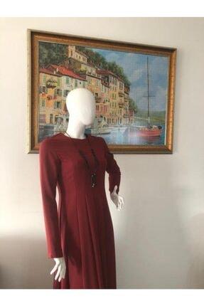 Sude Kiremit Rengi Şık Bayan Tesettür Elbise