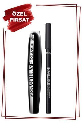 L'Oreal Paris Mega Volume Collagene 24h Siyah Maskara + Infaillible Gel Crayon Göz Kalemi 01 Back To Black - Siyah