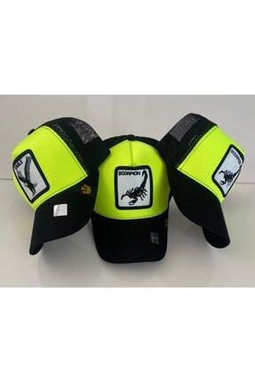 Dışkaya Akrep Hayvan Desenli Trend Şapka Fosforlu Renk Arkası Siyah Fileli
