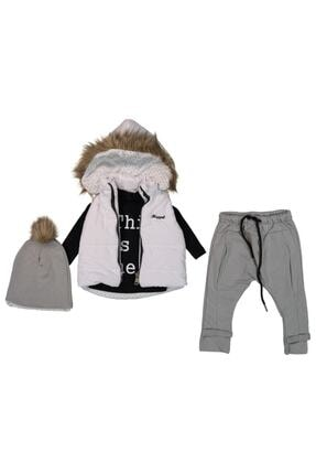 Hippıl Baby Kız Çocuk Beyaz-Gri Şapkalı Ve Tüylü Kapşonlu Şişme Yelekli Üçlü Takım
