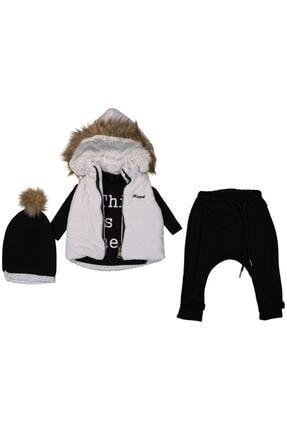 Hippıl Baby Kız Çocuk Siyah-Beya Şapkalı Ve Tüylü Çıt Çıt Kapüşonlu Şişme Yelekli Üçlü Kız Takım