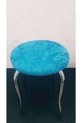 aksu çeyiz Kadife Turkuaz Lastıklı Sandalye Ve Tabure Örtüsü 3'lü Sandalye Kılıfı