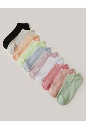 SOYTEMİZ ÇORAP 10 Çift Koton Karışık Renk Kadın Patik Çorap