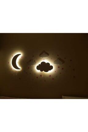 NARMAN Bebek Odası 2 Li Lamba Seti Ay Ve Bulut (gün Işığı Sarı Renk)