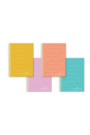 Faber Castell 120 Yaprak Çizgili 4 Adet Pastel Renkli A4 Defter