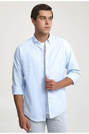 D'S Damat Slim Fit Mavi Keten Görünümlü Gömlek