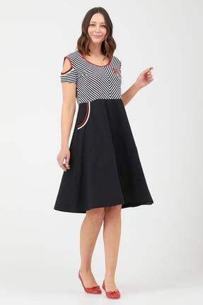 Sementa Kadın Pencere Kol Marine Elbise - Siyah