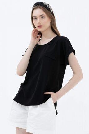 Sementa Cep Detaylı Dökümlü Bluz - Siyah