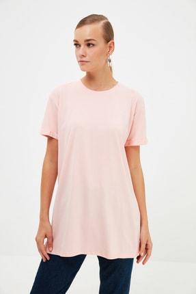 Trendyol Modest Pudra Örme T-Shirt TCTSS21RT0001
