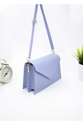 Rimense Kadın Mavi Üçgen Kapaklı Çanta