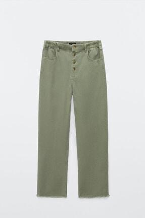 Massimo Dutti Kadın Düğmeli Straight Fit Jean 05075677