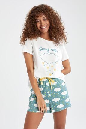 DeFacto Relax Fit Bulut Baskılı Pijama Takımı