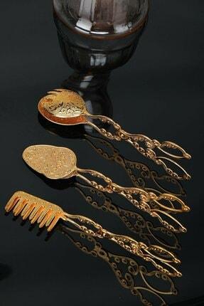 Miningaa Paslanmaz 3 Lü Lüx Altın Gold Servis Sunum Maşa Seti Kaşık Çatal Set