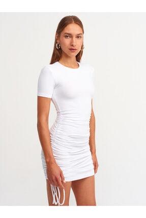 Dilvin 9092 Yanı Bağcıklı Elbise Beyaz
