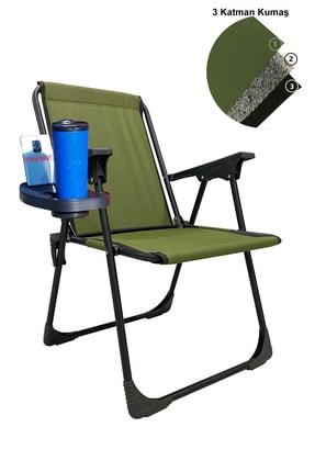 moniev Katlanır Kamp Piknik Sandalyesi Plaj Koltuğu Katlanır Şezlong Ve Oval Bardaklık Yeşil