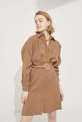 adL Kadın Kahve Gömlek Yaka Pileli Uzun Kollu Elbise