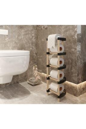 SEOWOOD Ahşhşap Wc Tuvalet Kağıtlığı 4 Kat Rulo Stoklu