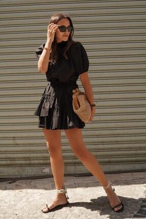 Love My Body Karpuz Kol Büzgülü Asimetrik Elbise