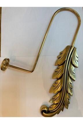 mova perde Altın Rengi Yaprak Detaylı Metal Fon Perde Bağlama Renso Kol Bağı
