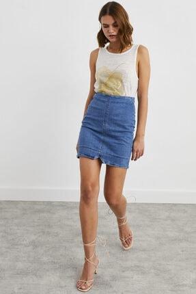 adL Kadın Mavi Jean Mini Etek