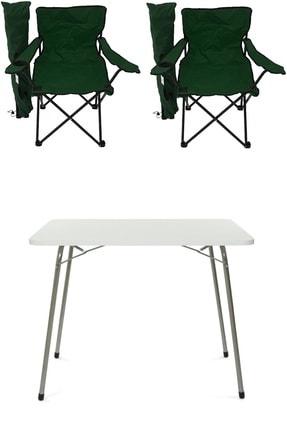 Bofigo 60x80 Katlanır Masa + 2 Adet Kamp Sandalyesi Katlanır Sandalye Piknik Plaj Sandalyesi Yeşil