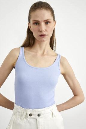 adL Kadın Mavi Ribana Örme Atlet