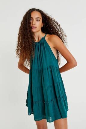 Pull & Bear Halter Yaka Katlı Mini Elbise