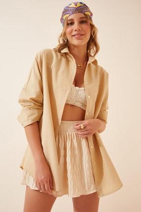 Happiness İst. Kadın Bisküvi Oversize Uzun Basic Gömlek  DD00842