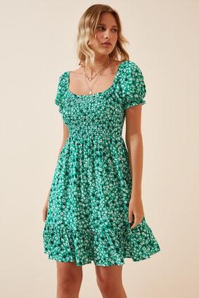 Happiness İst. Kadın Yeşil Çiçekli Büzgülü Yazlık Mini Viskon Elbise DD00964