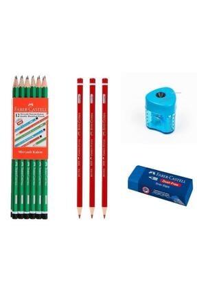 Faber Castell 12 Li Kurşun Kalem 3 Kırmızı Kalem Silgi Kalemtraş B.s