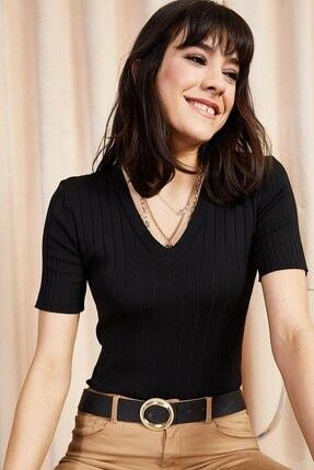 Luna Carina Kadın Siyah V Yaka Yazlık Triko Bluz T-shirt