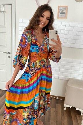 Kadın Modası Kadın Mavi V Yaka Balon Kol Çizgili Etnik Desen Volanlı Kiloş Elbise