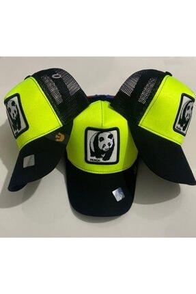 Dışkaya Hayvan Figürlü Panda Model Şapka Fosforlu Yeşil Arkası Fileli Şapka Trend