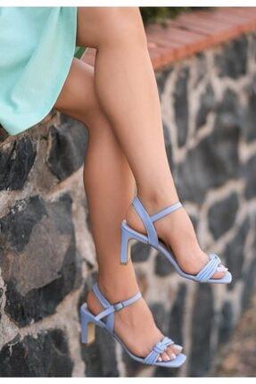 ESPARDİLE Zioni Bebe Mavisi Cilt Topuklu Sandalet