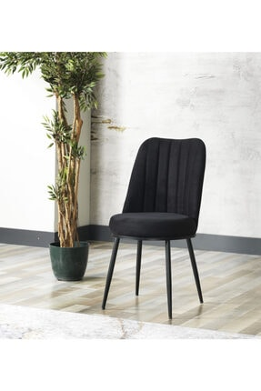 AVVİO Gold Sandalye- Yemek Masası Sandalyesi - Mutfak Masası Sandalyesi Siyah Renk- Metal Siyah Ayak