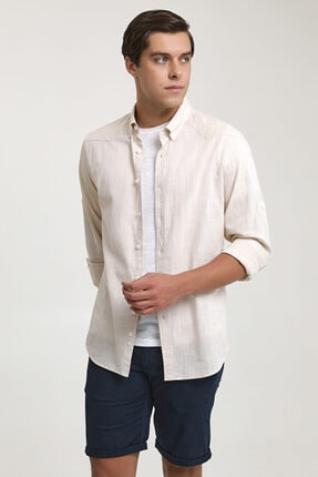 D'S Damat Slim Fit Bej Keten Görünümlü Gömlek