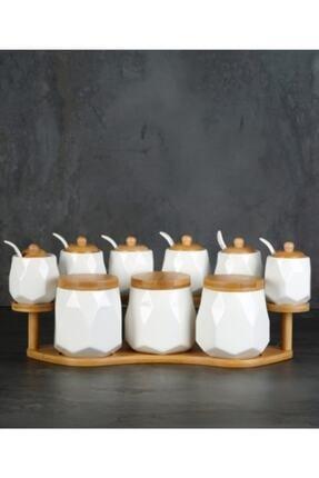 ACAR 9 Parça Bambu Standlı Kaşıklı Porselen Lüks Baharat Takımı Yam-010426