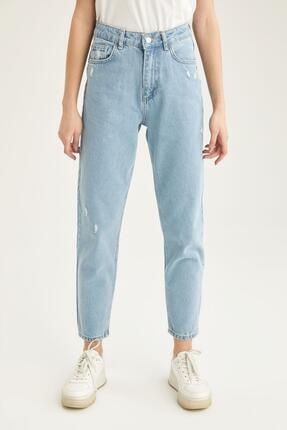 DeFacto Kadın Mavi Fit Yüksek Bel Jean Pantolon