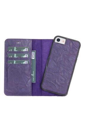 PLM Deri Telefon Kılıfı Iphone 7-8 Uyumlu B13 Mor