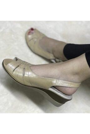 Polaris Hakiki Deri 5 Nokta Ortopedik Kadın Yazlık Dolgu Topuk Ayakkabı