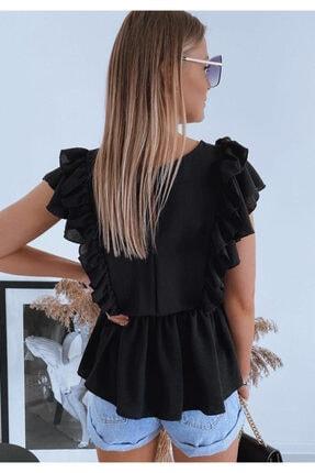ELBİSENN Kadın Kol Volanlı Quen Crep Bluz Siyah