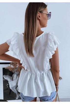 ELBİSENN Kadın Kol Volanlı Quen Crep Bluz Beyaz