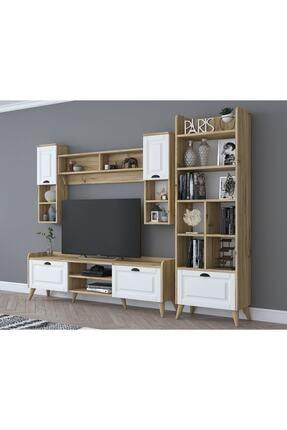 Rani Mobilya Rani Aa101 Duvar Raflı Kitaplıklı Ve Dolaplı Modern Tv Ünitesi Tv Sehpası Beyaz Keçe Ceviz M3