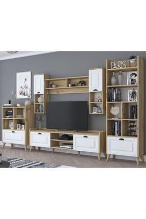 Rani Mobilya Rani Aa101 Duvar Raflı Kitaplıklı Ve Dolaplı Modern Tv Ünitesi Tv Sehpası Beyaz Keçe Ceviz