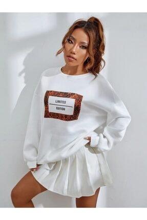 MODAGEN Kadın Beyaz Limited Edition Baskılı Oversize Sweatshirt