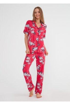 SUWEN Kadın Kirmizi Baskili Felicity Maskulen Pijama Takımı