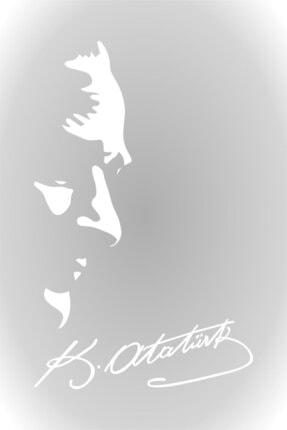 Quart Aksesuar Beyaz Kemal Atatürk Silüeti ve İmza Oto SAraba Sticker 30 cm