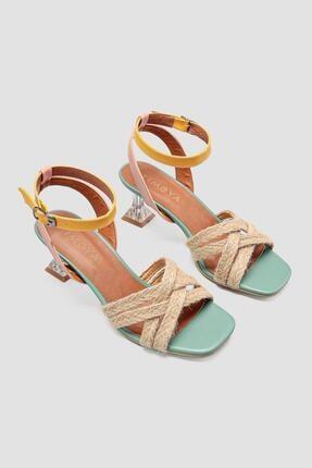 Limoya Halle Yeşil Bilekten Baretli Hasır Detaylı Topuklu Ayakkabı