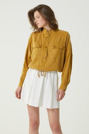 Network Kadın Regular Fit Hardal Dik Yaka Bağcık Detaylı Gömlek 1078883