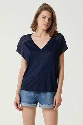 Network Kadın Basic Fit Lacivert V Yaka File Garnili T-shirt 1079955